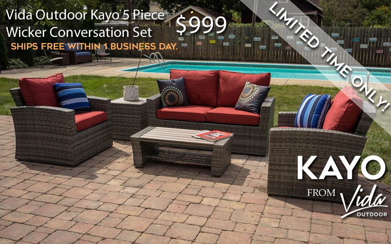 Vida Outdoor Kayo 5 Piece Wicker Conversation Set