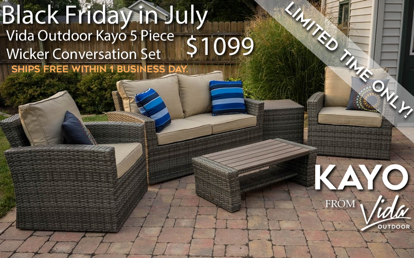 Vida Outdoor Kayo 5 Piece Wicker Conversation Set