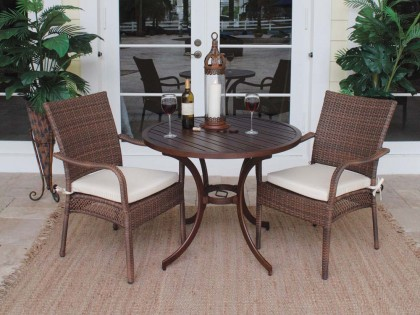Dining Table Patio Set For 2 - Dining Table Patio Set For 2 // Wicker.com - Wicker.com